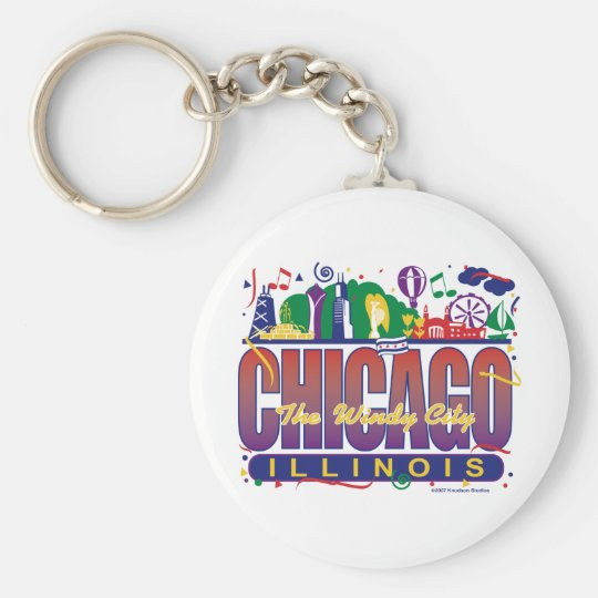 Chicago-Confetti Keychain