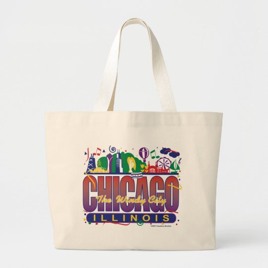 Chicago-Confetti Large Tote Bag