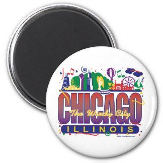 Chicago-Confetti Refrigerator Magnet