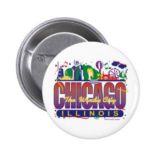 Chicago-Confetti Pinback Button