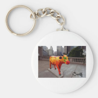 Chicago Cow on Parade Basic Round Button Keychain