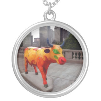 Chicago Cow on Parade Round Pendant Necklace