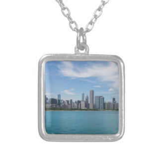 Chicago Day Cityscape Silver Plated Necklace