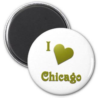 Chicago -- Deep Green Refrigerator Magnet