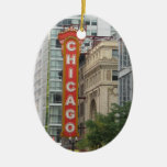 Chicago Double-Sided Oval Ceramic Christmas Ornament