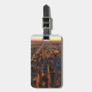Chicago downtown at sunset bag tags