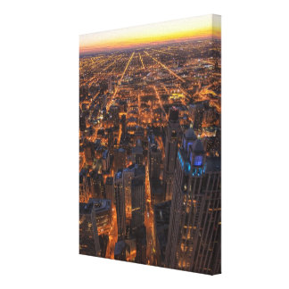 Chicago downtown at sunset gallery wrap canvas