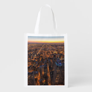 Chicago downtown at sunset grocery bag