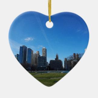 Chicago - el lago Michigan Adorno De Cerámica En Forma De Corazón