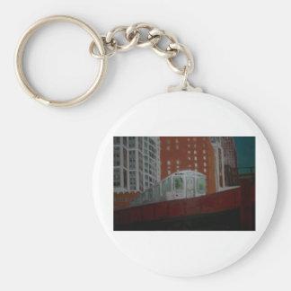 Chicago EL Train Basic Round Button Keychain