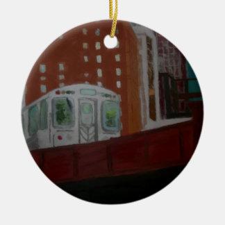 Chicago El Train Ceramic Ornament