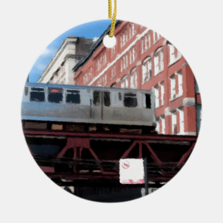 Chicago El Train Double-Sided Ceramic Round Christmas Ornament