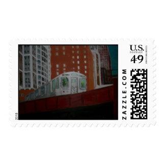Chicago El Train Postage Stamp