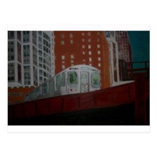 Chicago EL Train Postcard