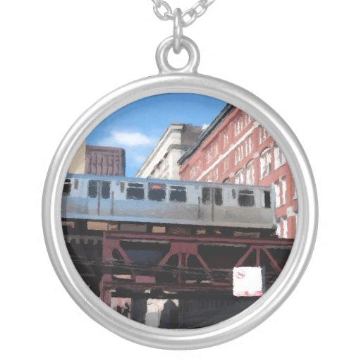 Chicago El Train Round Pendant Necklace