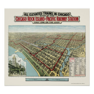 Chicago Elevated Trains IL Panoramic Map - 1893 Print