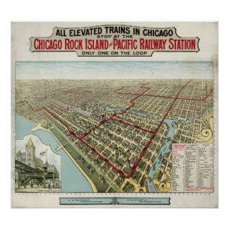 Chicago Elevated Trains (Poole) 1897 - AGED BMB Poster
