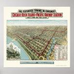 Chicago elevó los trenes, mapa panorámico de IL -  Impresiones
