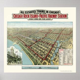 Chicago elevó los trenes, mapa panorámico de IL -  Póster