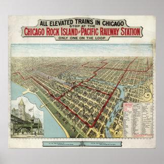 Chicago elevó los trenes (Poole) 1897 - BMB Póster
