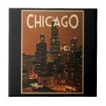 Chicago en la noche azulejo cerámica