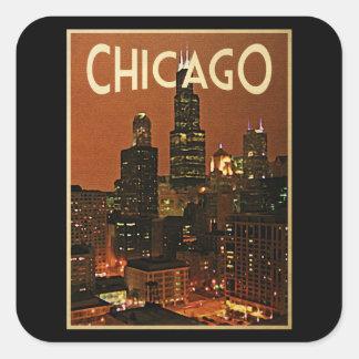 Chicago en la noche pegatina cuadrada