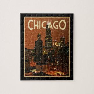 Chicago en la noche rompecabeza