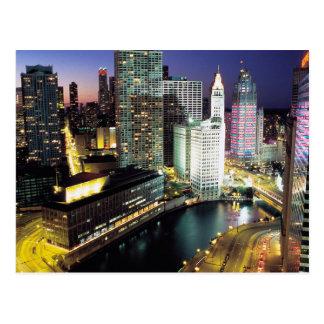 Chicago en la noche postales
