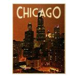 Chicago en la noche tarjetas postales