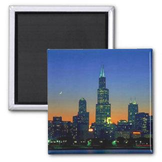Chicago enmarcó en puesta del sol imanes de nevera