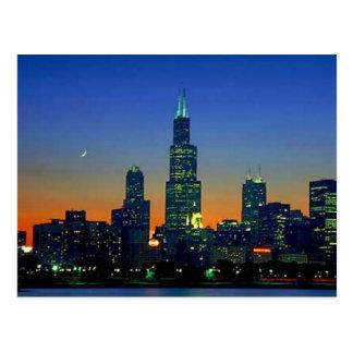 Chicago enmarcó en puesta del sol postal