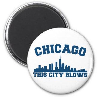 Chicago: Esta ciudad sopla Imán Redondo 5 Cm