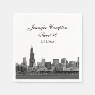 Chicago Etched Look Skyline Sweet 16 Paper Napkins