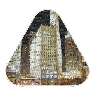 Chicago famous landmark at night bluetooth speaker