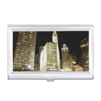 Chicago famous landmark at night business card case