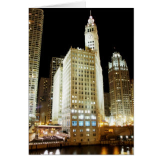 Chicago famous landmark at night card