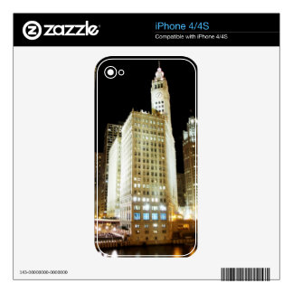Chicago famous landmark at night decals for the iPhone 4