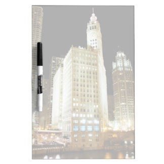 Chicago famous landmark at night dry erase board