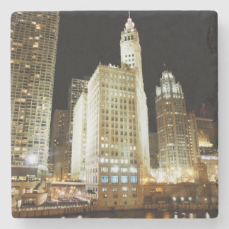 Chicago famous landmark at night stone coaster