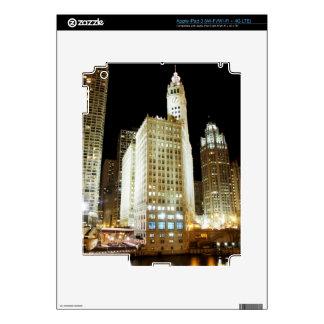 Chicago famous landmark at night iPad 3 decal