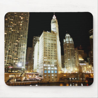 Chicago famous landmark at night mouse pad