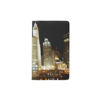 Chicago famous landmark at night pocket notebook cover
