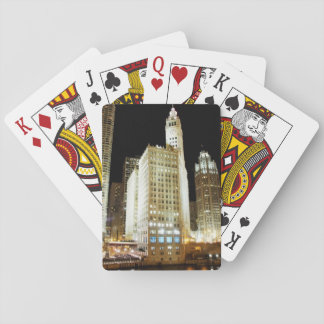 Chicago famous landmark at night card deck