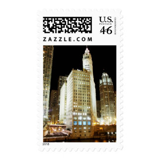 Chicago famous landmark at night stamps