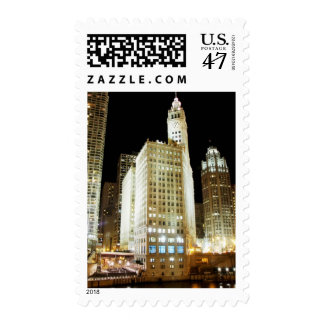 Chicago famous landmark at night postage stamp
