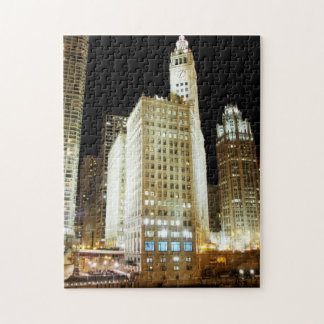 Chicago famous landmark at night puzzle