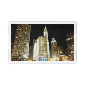 Chicago famous landmark at night rectangle serving trays