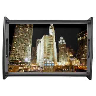 Chicago famous landmark at night serving tray