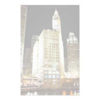 Chicago famous landmark at night stationery