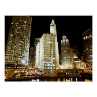 Chicago famous landmark at night perfect poster